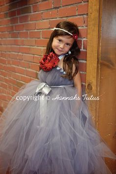 Red Elegance Grey Tutu Dress Flower Girl Wedding by HannahsTutus. , via Etsy.