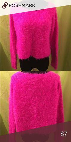 Bright Pink Furry Sweater Fun & Bright Pink Furry Sweater Sweaters Crew & Scoop Necks