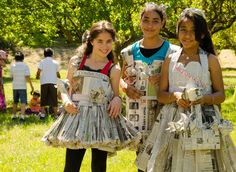 Earth Day Birthday 2012 at the John Muir National Park. These girls are wearing my favorite local newspaper!