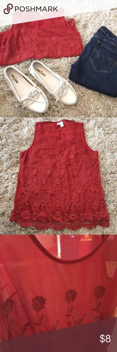 Forever 21 sheer tank, Size small. + Sheer tank with flower detail at the front  + The bottom has crochet trim, as pictured + Lightly used and in great condition + Don't forget to bundle!   ⭐️All items are steamed cleaned and shipped within 48 hours of your purchase.   ⭐️If you would like any additional photos or have any questions please let me know.  ⭐️Sorry, no trades. But will listen to ALL fair offers. Thanks for shopping! Forever 21 Tops Tank Tops
