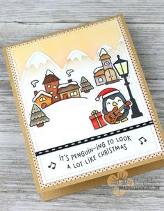 Hi again! My third Christmas card for this season features the new Lawn Fawn Here We Go A-Waddling and Winter Village stamp sets. I bought a whole bunch of their Christmas stamp sets this year, but…