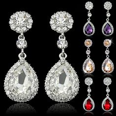Women Luxury Waterdrop Chandelier  Earrings Rhinestone Crystal Jewelry Gift 88IO