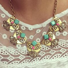 The gorgeous Devina necklace perks up an embroidered top. #regram from @mandya0503 Shop through link in profile.