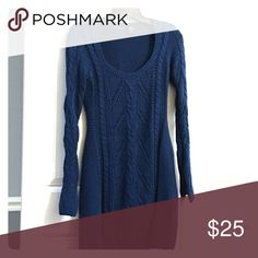 Cable Sweater Dress Navy Blue, cable knit sweater dress, excellent condition Moda International Dresses Long Sleeve