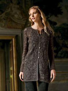 beautiful coat using RPL, irish crochet, and plain crochet