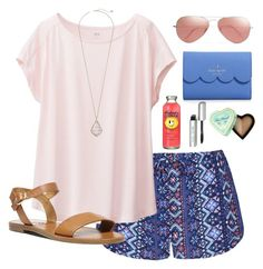 """summer come sooner"" by morganmestan ❤ liked on Polyvore featuring Ally Fashion, Uniqlo, Steve Madden, Kendra Scott, Kate Spade, Ray-Ban, Bobbi Brown Cosmetics and Too Faced Cosmetics"