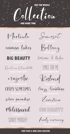 Introducing The Font Pack with Mini Logo Creator - a gorgeus font bundle packed with hand-lettered script and serif fonts. Cute Fonts, Fancy Fonts, Calligraphy Fonts, Typography Fonts, Logo Creator, Aesthetic Fonts, Writing Tattoos, Font Packs, Teacher Signs