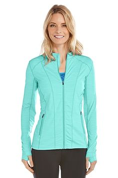 You'll love this Athletic Swim Jacket. Perfect for the gal on the go, this jacket is UPF 50+ even when wet. Now that sun protection that performs.