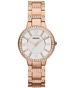 Fossil Watch, Women's Virginia Rose Gold-Tone Stainless Steel Bracelet 30mm ES3284