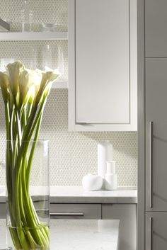 Small circular tiles give a subtly unorthodox touch to this kitchen backsplash. Photo by Joseph Louis Design.