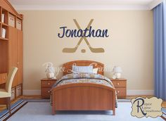 Personalized Ice Hockey Vinyl Wall Decal by Royce Lane Creations.