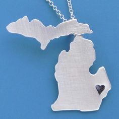 Custom Michigan Necklace by sudlow on Etsy, $65.00