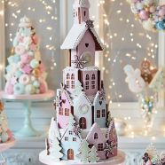 Had to share this charming pastel gingerbread village tiered cake. What fun it would be as a unique Winter wedding cake ~ Peggy Porschen Cakes Gingerbread Village, Christmas Gingerbread House, Noel Christmas, Pink Christmas, Christmas Goodies, Christmas Treats, Beautiful Christmas, All Things Christmas, Christmas Hamper