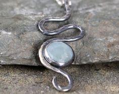 Aquamarine Pendant - Sterling Silver Swirl Necklace - March Birthstone - Modern Jewellery - Rustic Necklace - Blue Gemstone Pendant