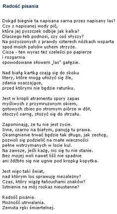 Wisława Szymborska RADOŚĆ PISANIA