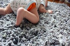 This page has multiple ways to recycle old t-shirts! There is a cute headband on it and I love this rug for a baby nursery or office.