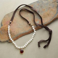 LAST LIGHT NECKLACE - classic pearls and garnet suspended on a suede leather strap