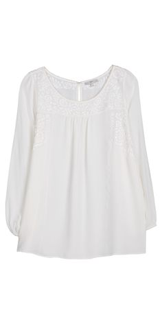 JOIE Morisson Top - white on white embroidery mixed with peasant blouse styling