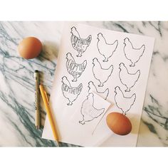 etsy.com/shop/substationpaperie  doodling - chickens - fresh eggs - egg gift tag
