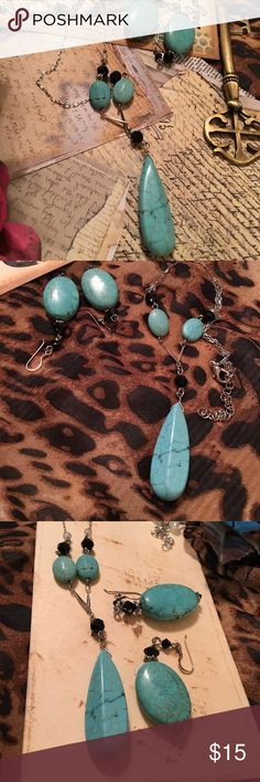 """Turquoise, black &  silver Necklace & Earrings Add a little color to those dark fall outfits. This is definitely a year round set. Great size and style. With black Crystal accents. Chain length is 15"""" with up to a 2"""" extension. Necklace stone is 2"""". Earrings length almost 2"""" with 1"""" stone. Jewelry Necklaces"""