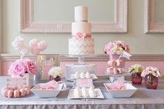 Pretty pink and silver glitter cake table. Cakes by The Sugared Saffron Cake Company; Macarons by Anges Du Sucre; Styling by Always Andri; Photograph by My Heart Skipped; Flowers by Boutique Blooms; Stationery by Paperknots
