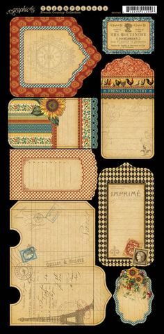Here we have the marvelous coordinating Cardstock Tags & Pockets from French Country. Look for it in stores in February. #graphic45 #CHAW2013 #sneakpeeks