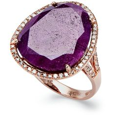 Effy Collection 14k Rose Gold Ring, Ruby (11-1/3 Ct. T.W.) And Diamond... ($2,600) ❤ liked on Polyvore