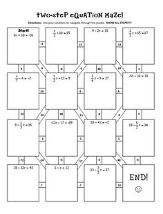 Two-Step-Equations-Notes-Maze-Activity-416552 Teaching Resources - TeachersPayTeachers.com