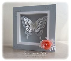 handmade card: carte cadre papillon by Corine Collet ... lovely framing for multi-layered butterfly ... grays with a pop of peach ... Stampin' Up!