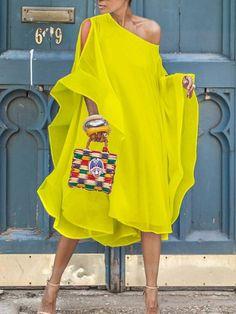 Solid Color Chiffon Shoulder Beach Dress classy casual formal summer holiday dress vintage simple fancy pretty mididres for women Chiffon Shoulder, Shoulder Dress, Shoulder Sleeve, Cold Shoulder, Mode Bcbg, Perfect Prom Dress, Look Fashion, Fashion 2020, Steampunk Fashion