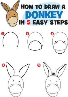 How To Draw A Donkey Comment Dessiner Un âne Ane Dessin Ane