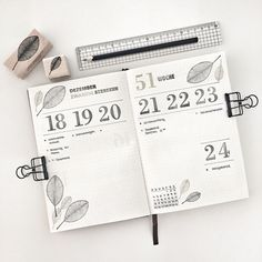 Bullet journal weekly layout, number stamps, plant drawing, vertical layout. @bulletbyjulia