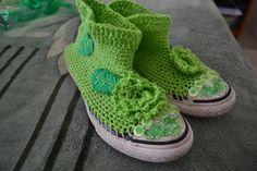 tejer a crochet zapatilla usadas....