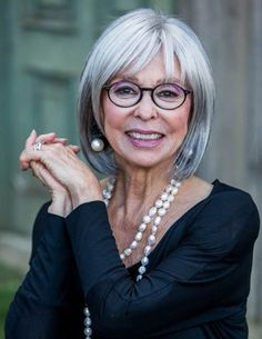 LIMEROOM aged beauty | Rita Moreno.  This seems like a wig to me.  The eyeglasses close off her face and hardens her look.