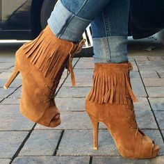 Lace Up Fringe Booties