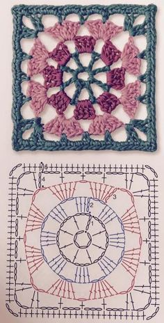 Transcendent Crochet a Solid Granny Square Ideas. Inconceivable Crochet a Solid Granny Square Ideas. Crochet Shawl Diagram, Crochet Motifs, Granny Square Crochet Pattern, Crochet Mandala, Crochet Stitches Patterns, Crochet Chart, Crochet Squares, Crochet Granny, Knitting Patterns