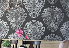 Grand Damask Stencil Draws Drama into the Dining Room - Paint + Pattern