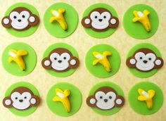 12 Edible MONKEY AND BANANAS Fondant Cupcake Toppers. $19.00, via Etsy.