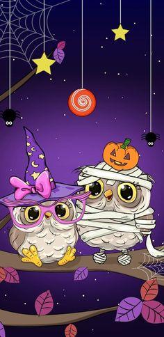 Halloween Artwork, Halloween Owl, Purple Halloween, Halloween Drawings, Halloween Pictures, Halloween Wallpaper, Holiday Wallpaper, Fall Wallpaper, Cute Wallpaper Backgrounds