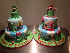 Super Mario and Luigi cakes