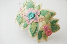Pastel Embroidered Wool Cuff by SewSweetStitches on Etsy, $38.00