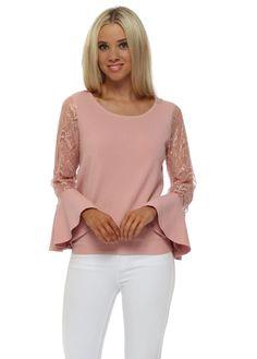 LAETITIA MEM Rose Pink Lace Sleeve Fine Knit Jumper
