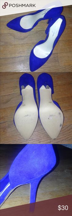 Jessica Simpson Blue Heels Beautiful Jessica Simpson brand blue heels. Only worn three times - the wear is shown in the pictures. Only visible on the bottom on the shoe. Jessica Simpson Shoes Heels