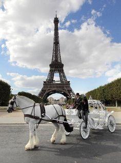 Romantic pumpkin carriage waits for Cinderella in Paris ~ Colette Le Mason @}-,-;---