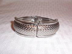 1960s Vintage Silver Tone Hinged Bangle by MyVintageHatShop #GotVintage #Vintage #Jewelry