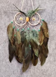 CH110 Green Feathers Owl Dream Catcher