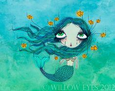 Big Eyed Girl Art Print - Nautical Mermaid Illustration Melancholy Molly 10x8 inches via Etsy