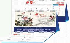 Bộ lịch để bàn với chủ đề Hoa Thủy Mặc với những hình ảnh được vẽ bằng tay theo phong cách thư pháp vừa rất nghệ thuật nhưng cũng rất sinh động.
