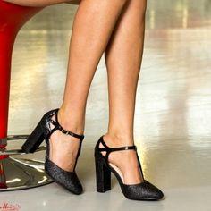 Pantofi cu Toc XKK150 Black Mei Pumps, Heels, Pewter, Black, Fashion, Heel, Tin, Moda, Black People