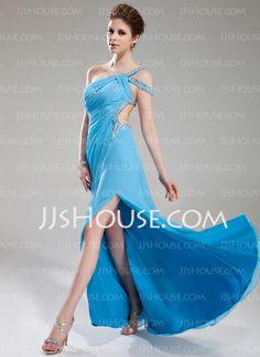 Prom Dresses - $158.99 - A-Line/Princess One-Shoulder Sweep Train Chiffon Prom Dress With Ruffle Beading (018018823) http://jjshouse.com/A-Line-Princess-One-Shoulder-Sweep-Train-Chiffon-Prom-Dress-With-Ruffle-Beading-018018823-g18823